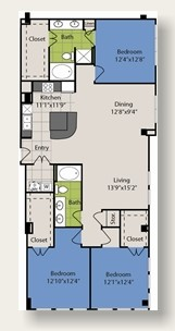 1,632 sq. ft. C3 floor plan