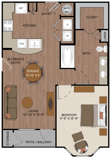 799 sq. ft. A2 alt floor plan