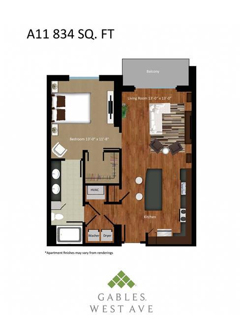 834 sq. ft. DA11 floor plan