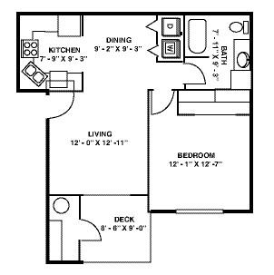 651 sq. ft. A floor plan