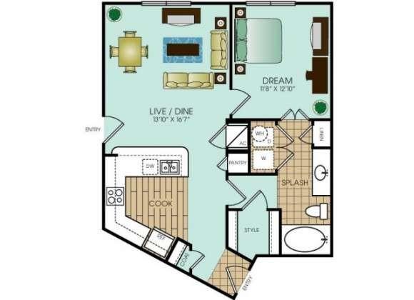732 sq. ft. A6 floor plan