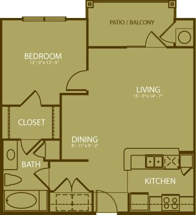 725 sq. ft. Augusta floor plan