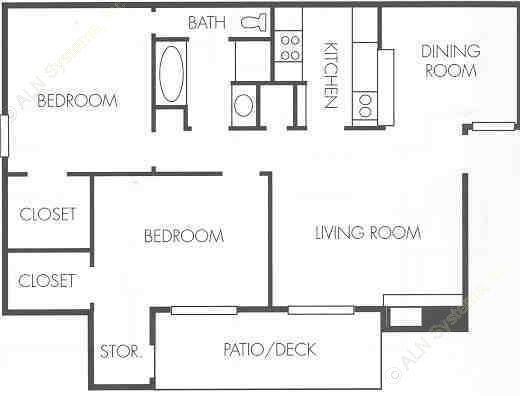 877 sq. ft. A2 floor plan