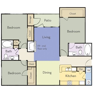 1,312 sq. ft. Plan C2 floor plan