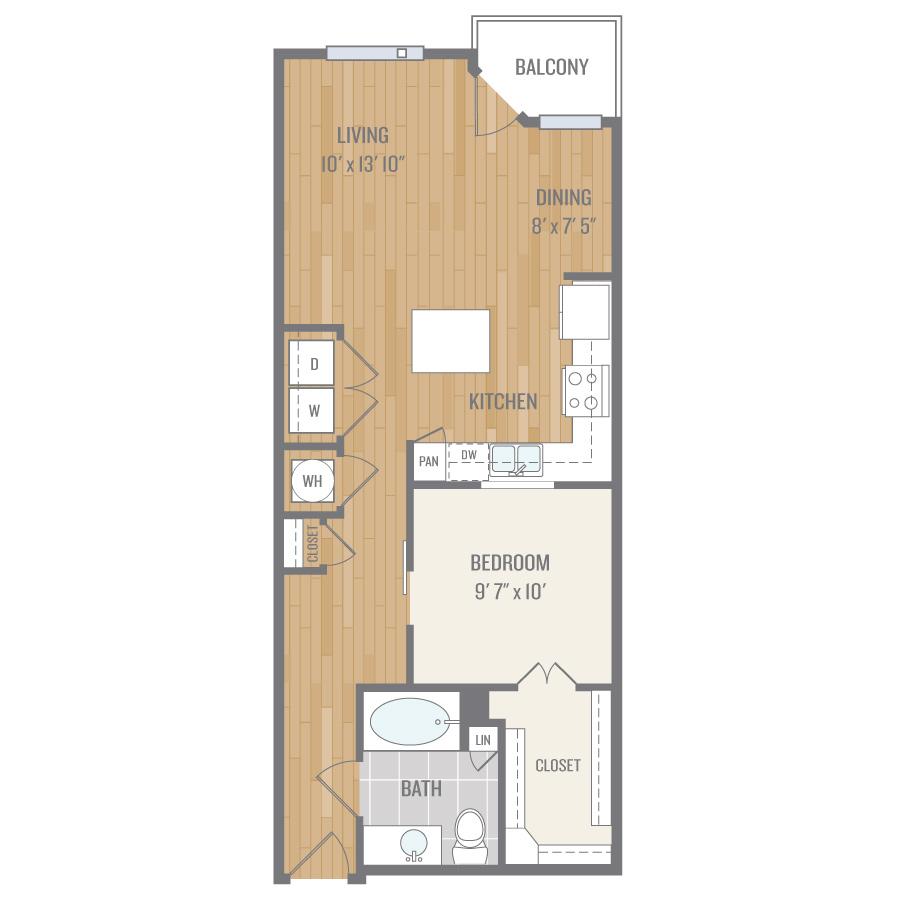 754 sq. ft. A4 floor plan