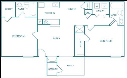 966 sq. ft. E floor plan
