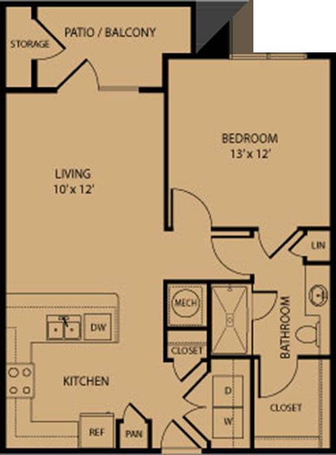 719 sq. ft. Kerrville floor plan
