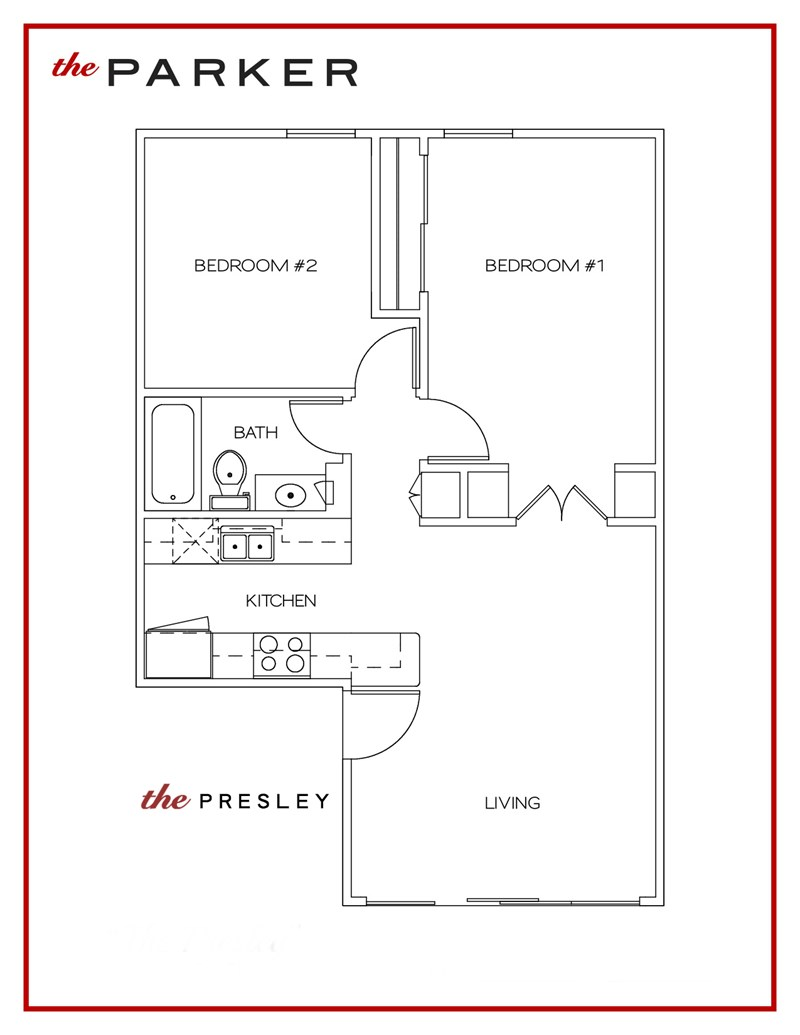 681 sq. ft. Presley floor plan