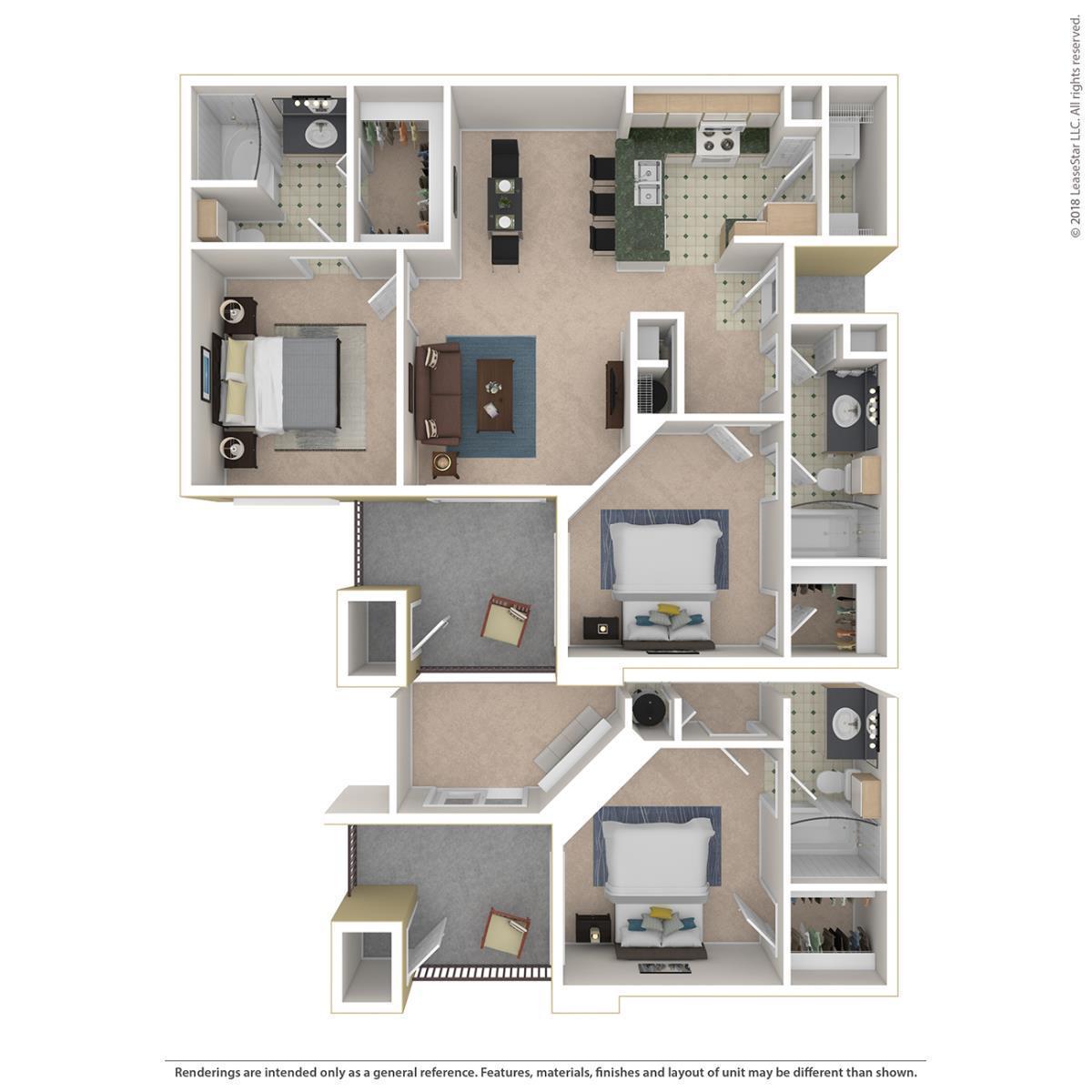 1,036 sq. ft. Wesley floor plan