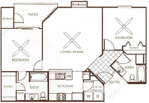 982 sq. ft. B1 floor plan