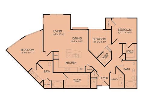 1,476 sq. ft. C1 floor plan