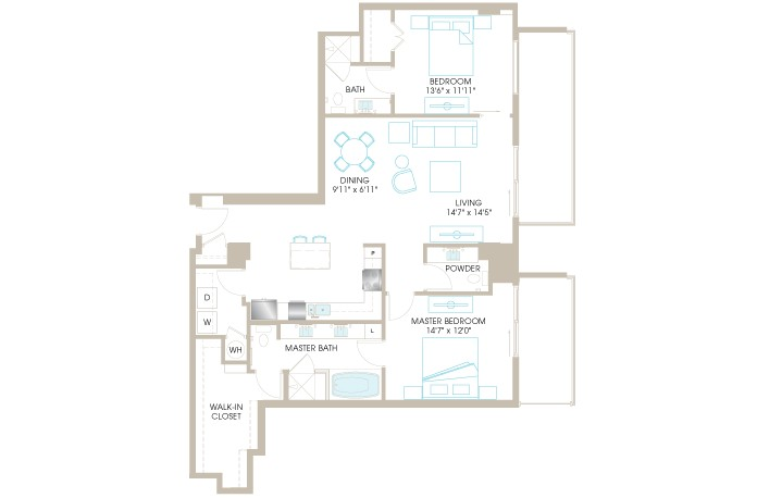 1,436 sq. ft. C8 floor plan