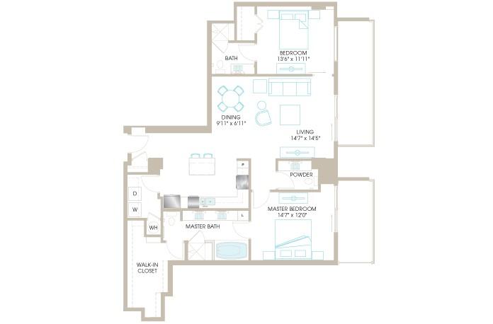 1,436 sq. ft. C8 floor plan