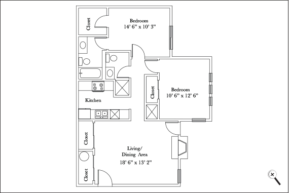 915 sq. ft. B1 floor plan