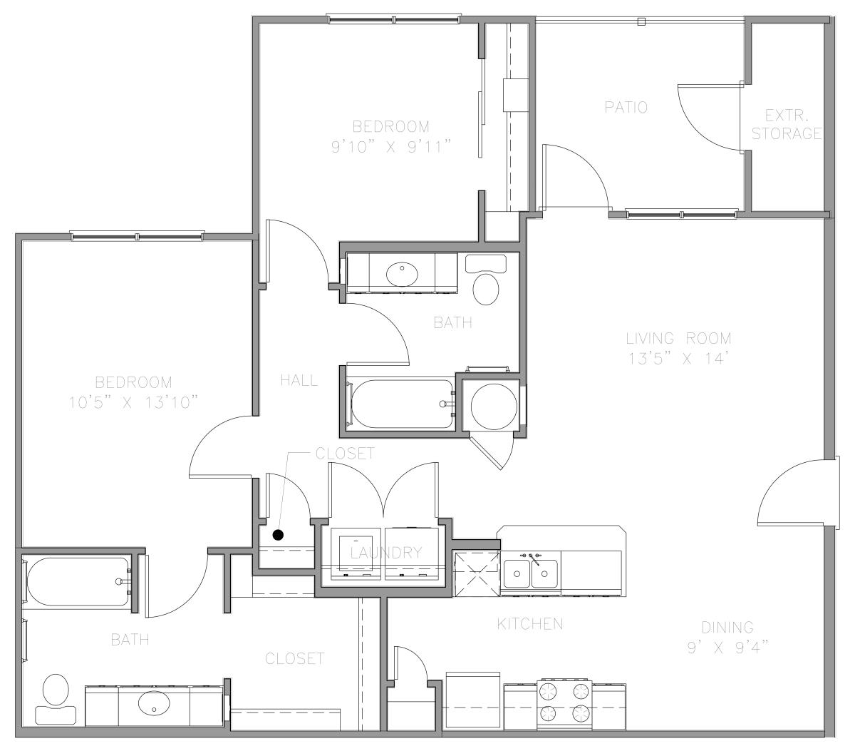 995 sq. ft. 60% floor plan