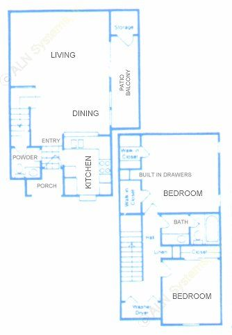 1,167 sq. ft. B floor plan