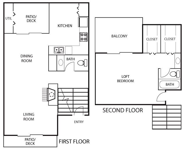 1,105 sq. ft. A3 floor plan