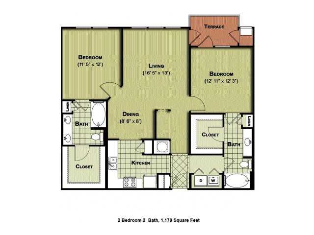 1,170 sq. ft. B1a floor plan