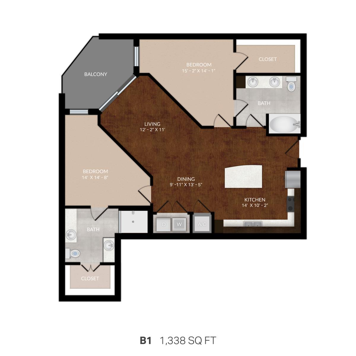 1,247 sq. ft. B1 floor plan