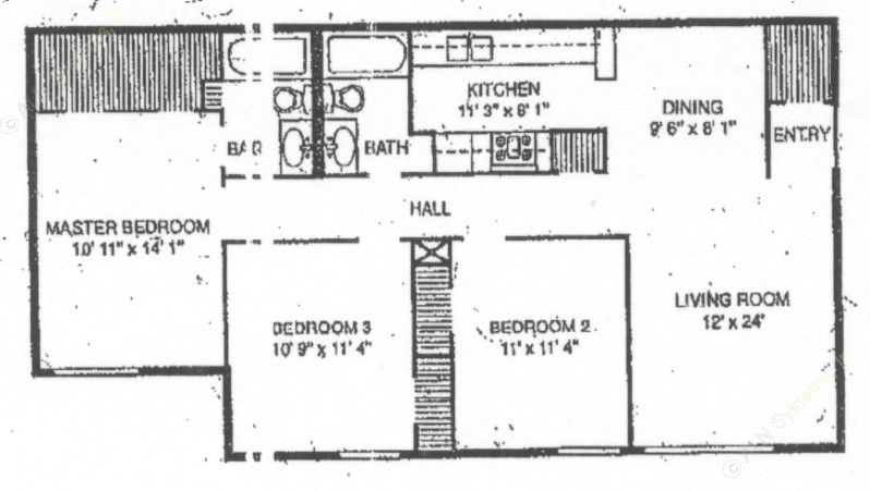 1,127 sq. ft. C-1 floor plan