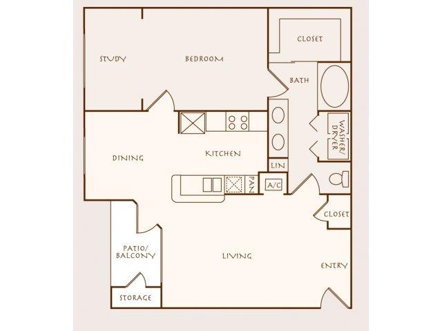 892 sq. ft. Banyon floor plan