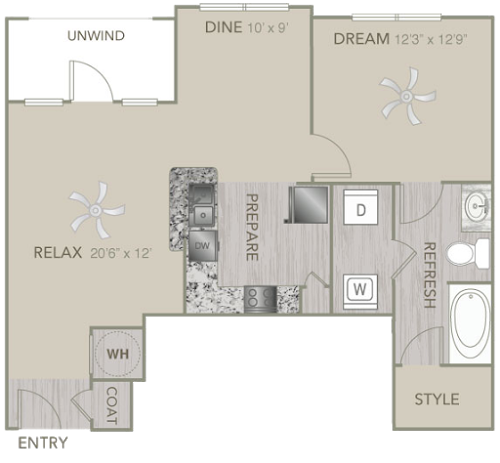 828 sq. ft. A2E floor plan