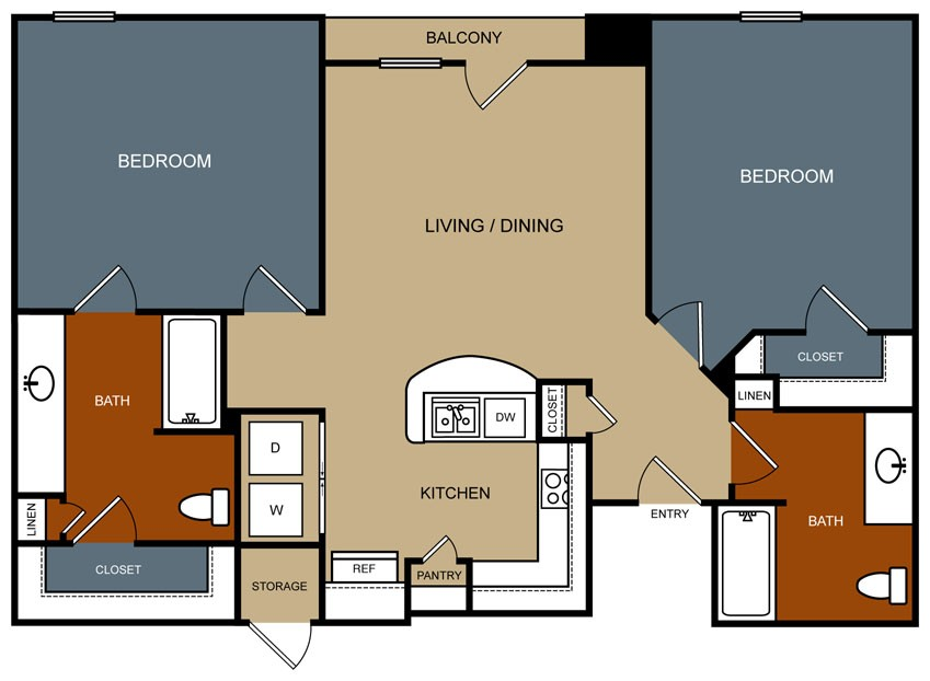 1,019 sq. ft. B3/60% floor plan