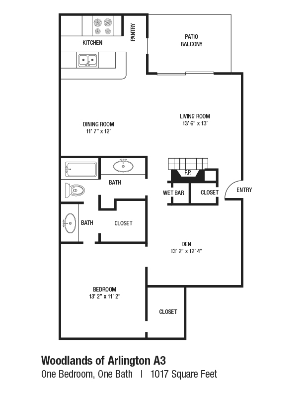 1,017 sq. ft. A3 floor plan
