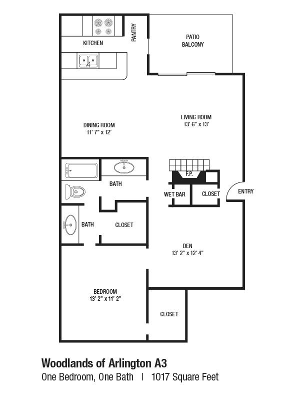 1,017 sq. ft. A3 floor plan