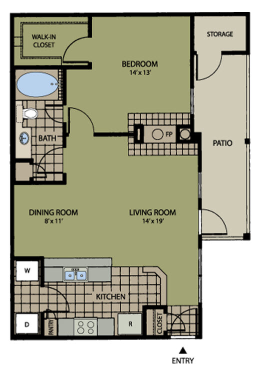 754 sq. ft. Claremnt floor plan