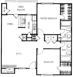 1,014 sq. ft. B2 floor plan