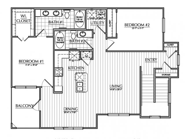 1,192 sq. ft. B1.2 floor plan