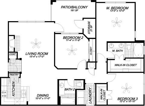 1,362 sq. ft. C2 floor plan