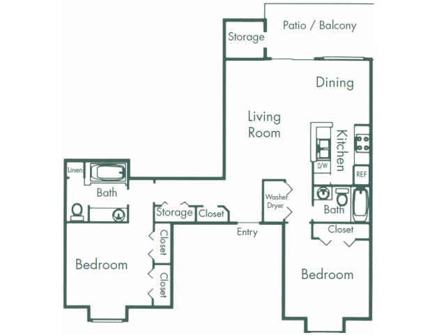 1,062 sq. ft. B7 floor plan