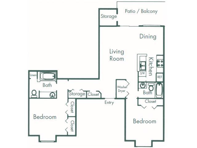 1,062 sq. ft. B7 floor plan