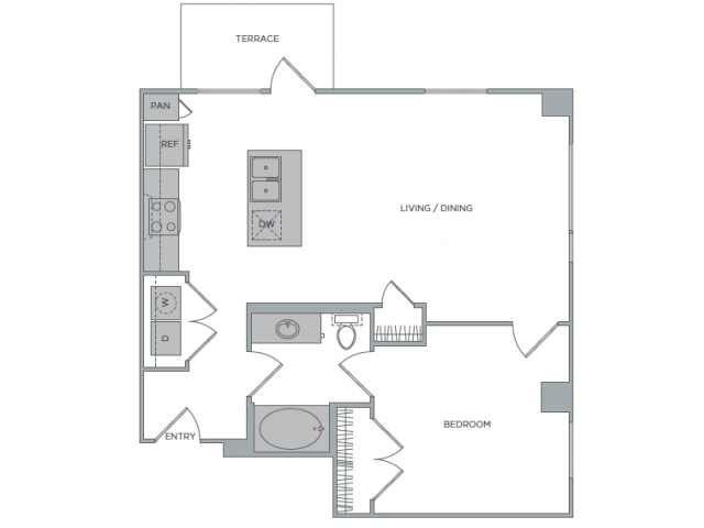 821 sq. ft. 1M floor plan