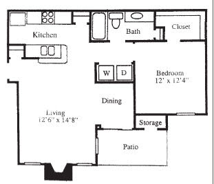 748 sq. ft. A3A floor plan