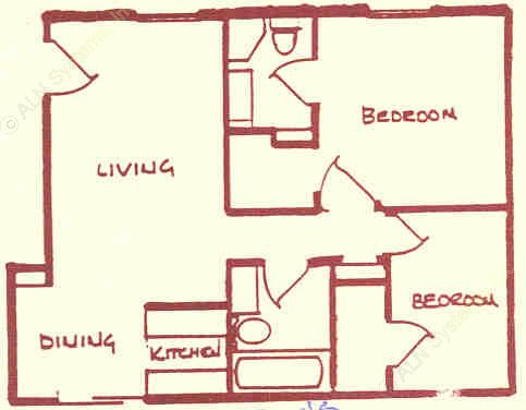 1,015 sq. ft. floor plan