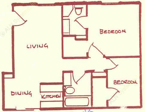 1,015 sq. ft. floor plan