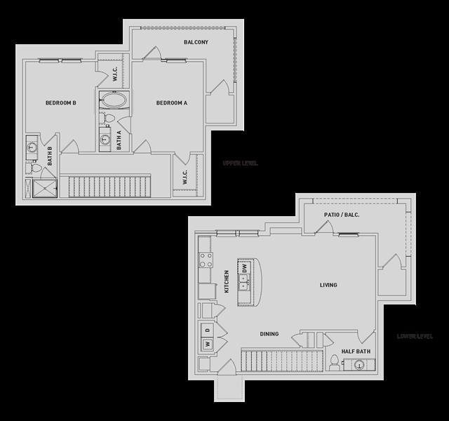 1,339 sq. ft. BB3-TH floor plan