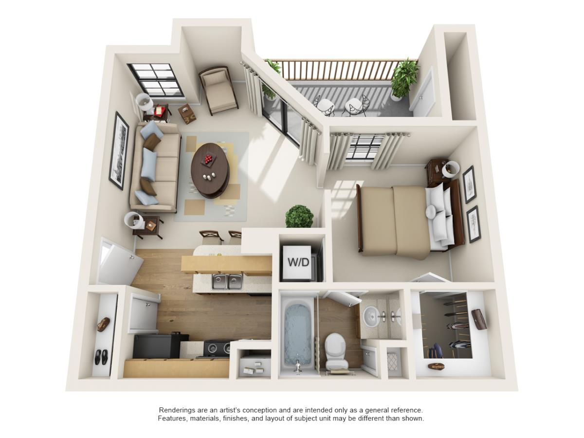 488 sq. ft. A1 floor plan