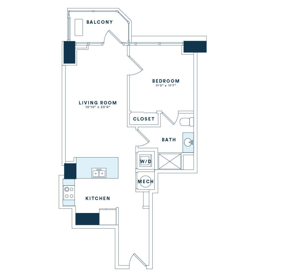 710 sq. ft. A4 floor plan