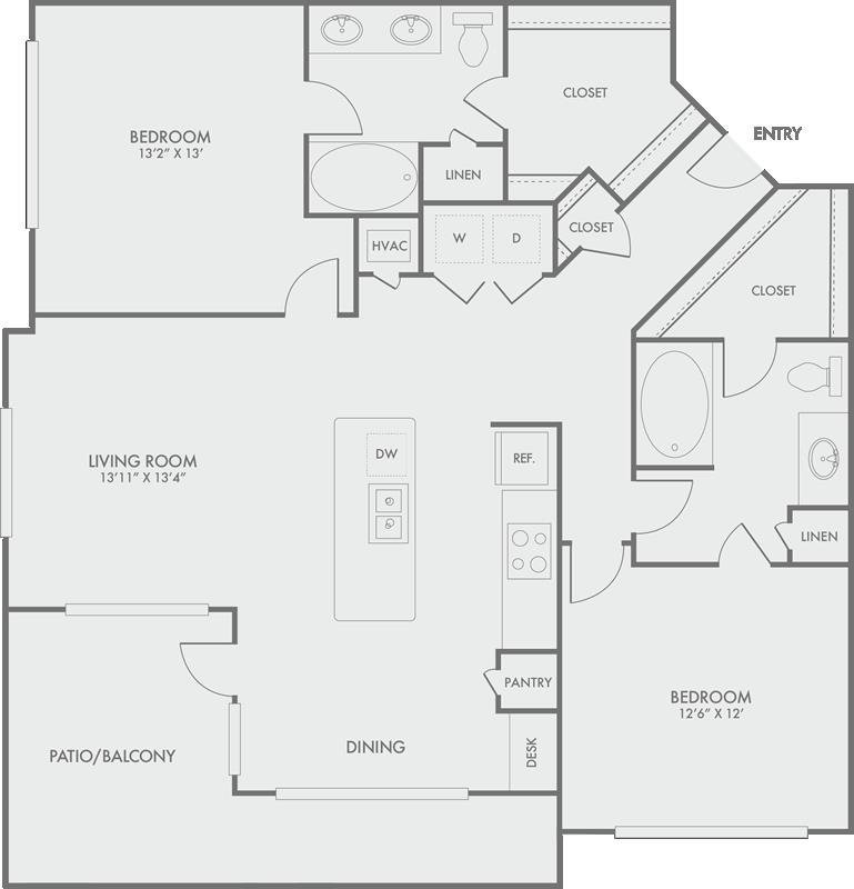 1,307 sq. ft. B7 floor plan