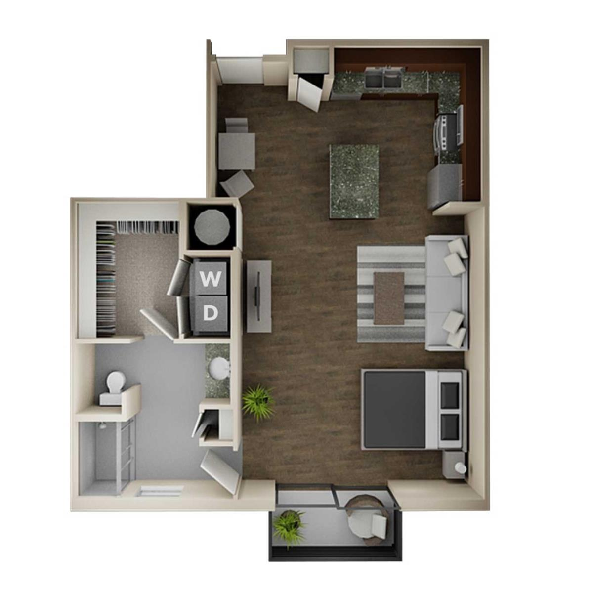 720 sq. ft. E2 floor plan
