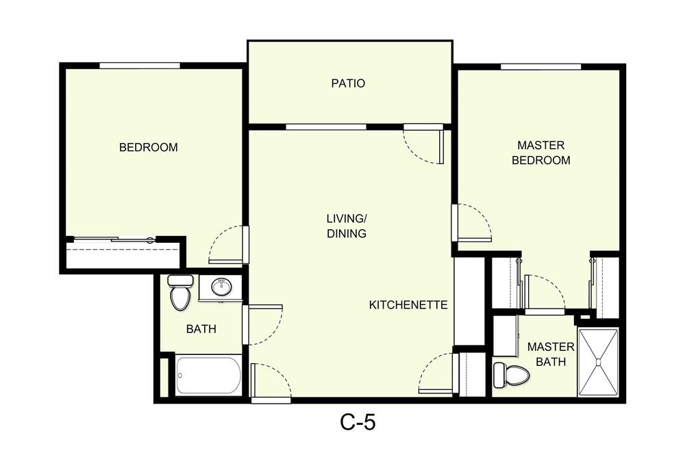 893 sq. ft. C5 floor plan