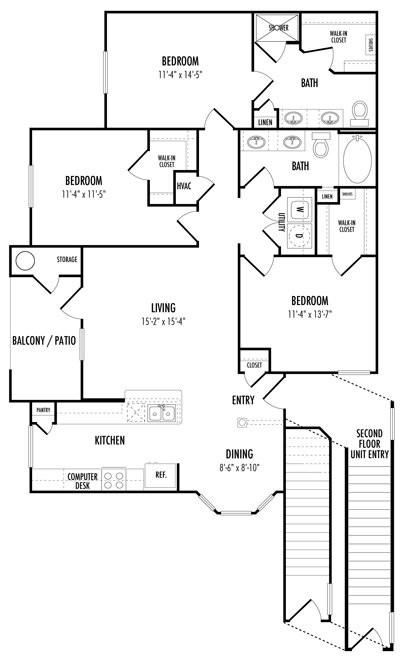 1,339 sq. ft. D1 floor plan