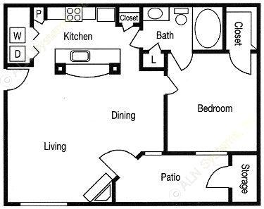 731 sq. ft. Austin floor plan