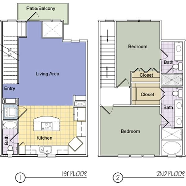 1,312 sq. ft. Washington Square (B2.5AT) floor plan