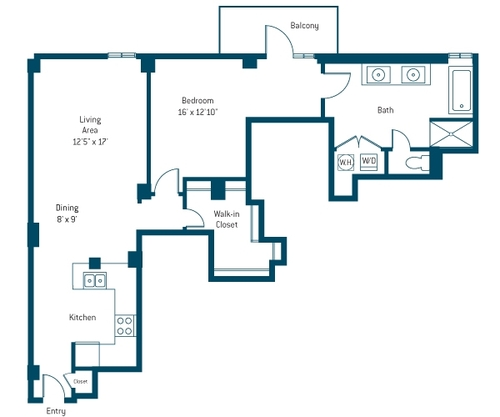 915 sq. ft. AV floor plan
