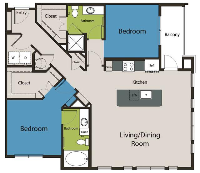 1,229 sq. ft. B2.1 floor plan